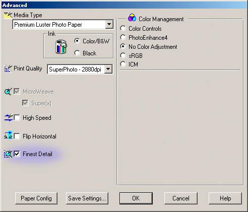Printer Settings Dialog