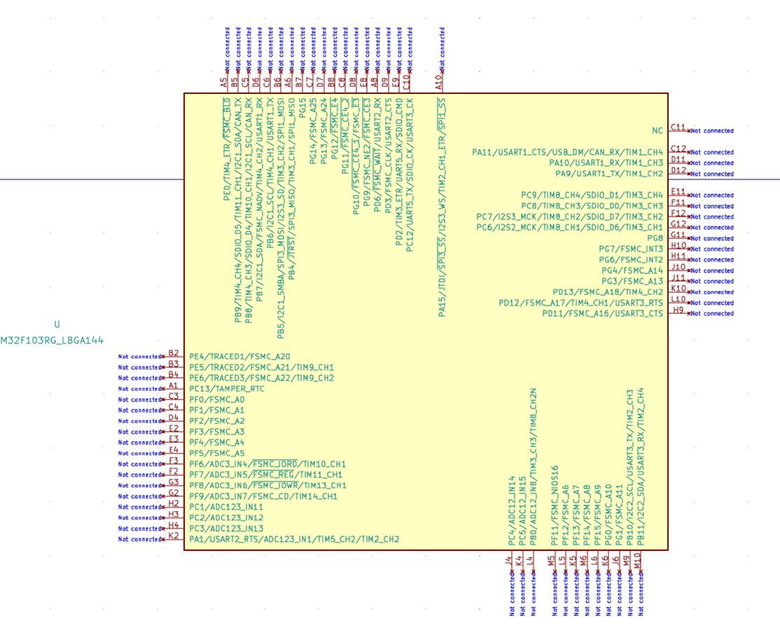 Connecting a 512K*16bit SRAM (IS62WV51216BLL-55TLI) to a 144